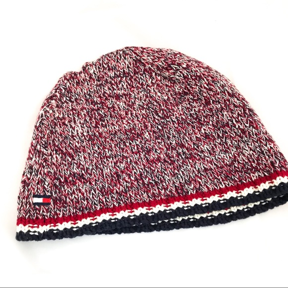 0511ab7526d Tommy Hilfiger flag beanie hat knit sweater